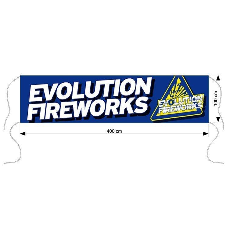 Evolution Fireworks spandoek afm. 400x100cm