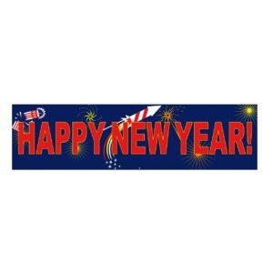 Spandoek Happy new Year afm. 80x300cm