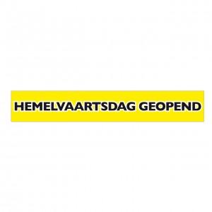 Spandoek Hemelvaartsdag geopend afm. 80x500cm