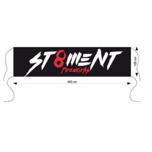 ST8MENT vuurwerk spandoek afm. 400x100cm